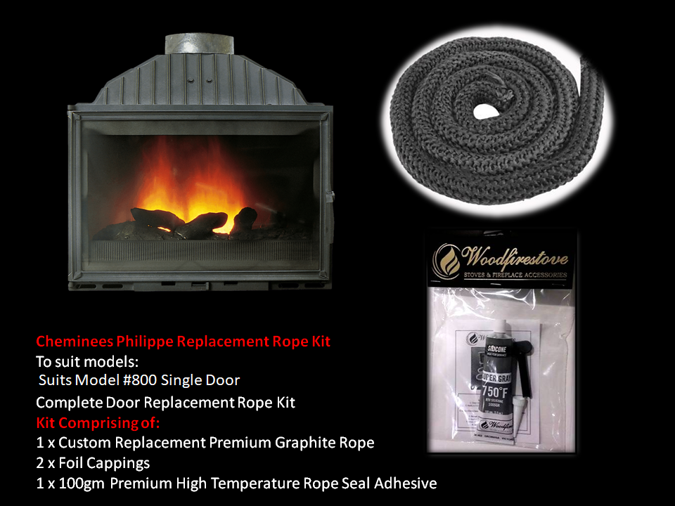 Cheminees Philippe RADIANTE 800 SINGLE DOOR ROPE SEAL KIT Replacement - Custom Size *Free Shipping
