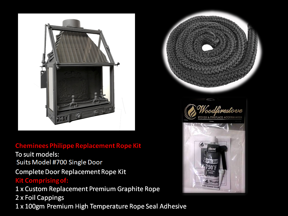 Cheminees Philippe RADIANTE 700 SINGLE DOOR ROPE SEAL KIT Replacement - Custom Size *Free Shipping