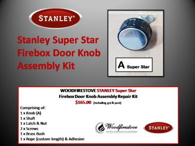 Stanley Super Star Firebox Door Knob Assembly Kit - Free Shipping Australia Wide