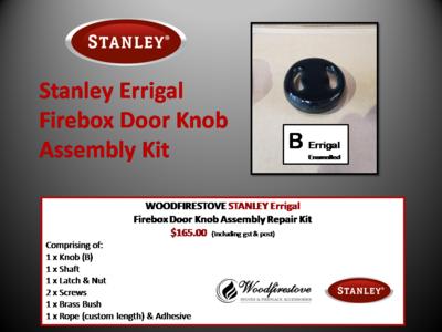 Stanley Errigal Firebox Door Knob (Enamelled) Assembly Kit - Free Shipping Australia Wide