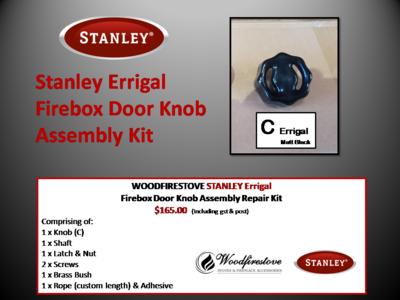 Stanley Errigal Firebox Door Knob (Matt Black) Assembly Kit - Free Shipping Australia Wide