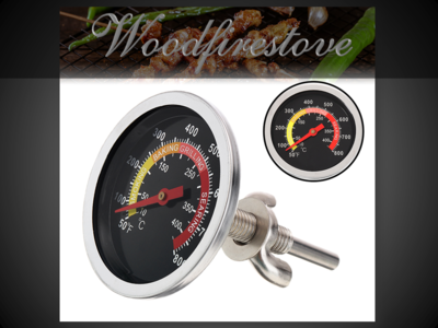 Wood Stove Oven & Pizza Oven Colour Face Oven Thermometer Temperature Gauge *Free Shipping