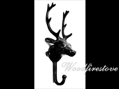 Cast Iron Deer Head Fireplace Tool Holder - Wall Hook