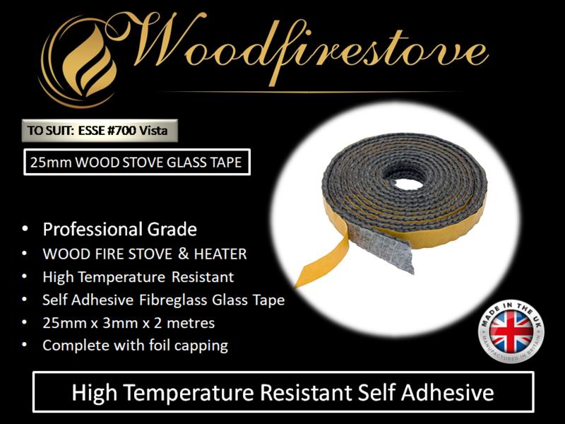 ESSE #700 Vista WOOD STOVE & HEATER Self Adhesive FLAT GLASS TAPE SEAL KIT (25mm) - 2 Metres *Free Shipping