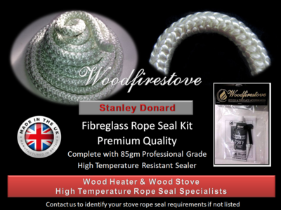 STANLEY DONARD WOOD STOVE Fibreglass DOOR ROPE SEAL KIT (12mm) - 2 Metres *Free Shipping