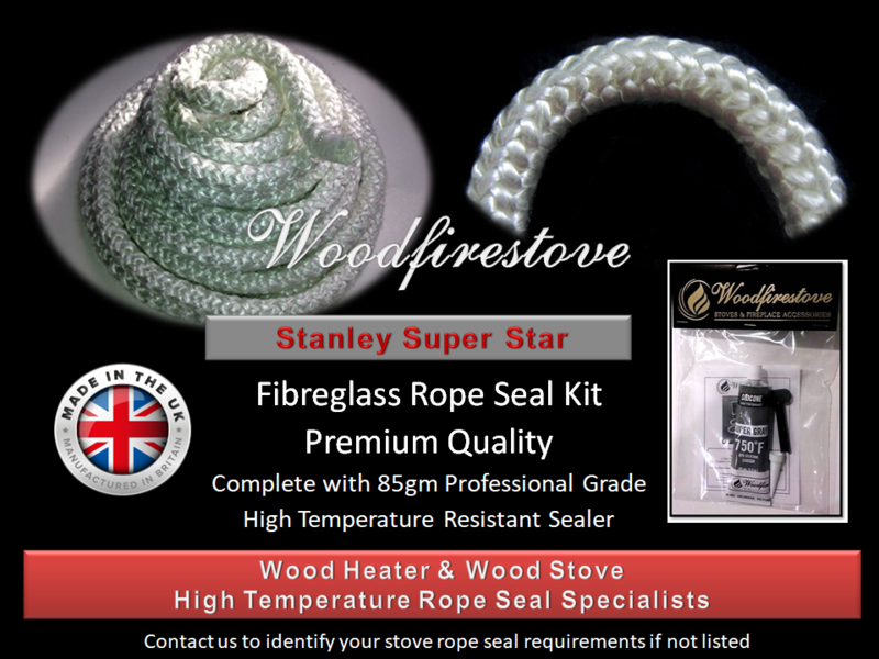 STANLEY SUPER STAR WOOD STOVE Fibreglass DOOR ROPE SEAL KIT (12mm) - 2 Metres