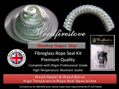 STANLEY SUPER STAR WOOD STOVE Fibreglass DOOR ROPE SEAL KIT (12mm) - 2 Metres *Free Shipping