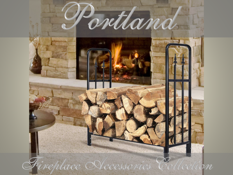 PORTLAND Wrought Iron Style Indoor or Alfresco Pizza Oven Patio Log Rack with Diamond Finials / Wood Holder FIREWOOD STORAGE