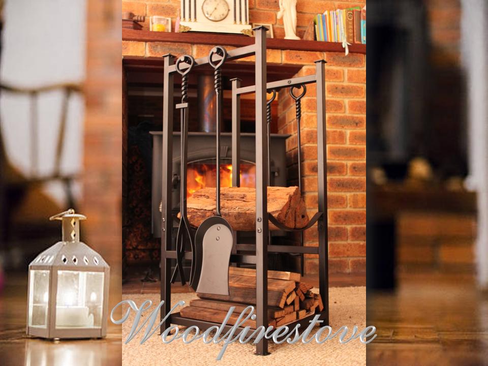 RIPPLEBROOK Indoor Log Rack with Kindling Holder and Fireplace Tools / Wood Holder FIREWOOD STORAGE