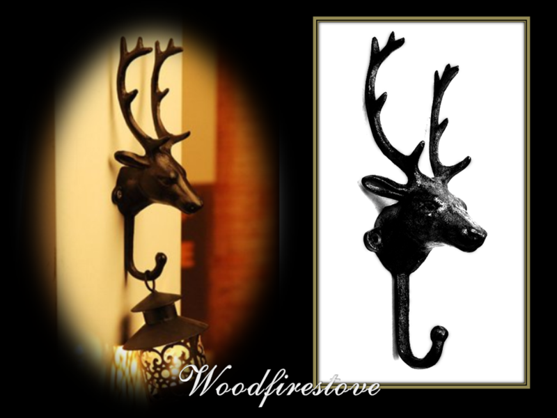 Cast Iron Deer Head Fireplace Tool Holder - Wall Hook