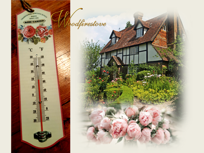 Old World Roses Metal Wall Thermometer *Free Shipping