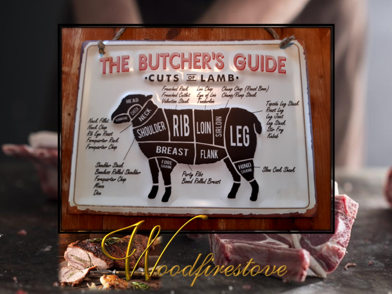 Farmhouse Pressed Metal Butchers Guide LAMB Wall Hanging LARGE *Free Shipping