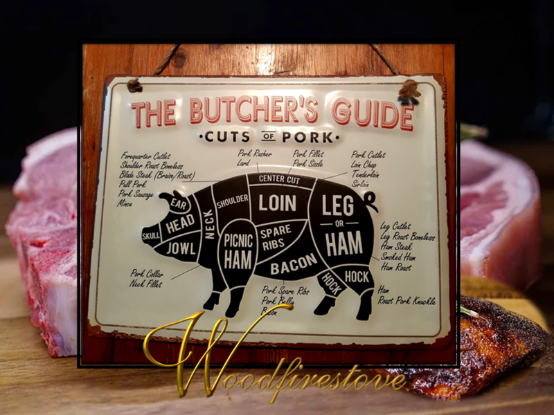 Farmhouse Pressed Metal Butchers Guide PORK Wall Hanging LARGE *Free Shipping