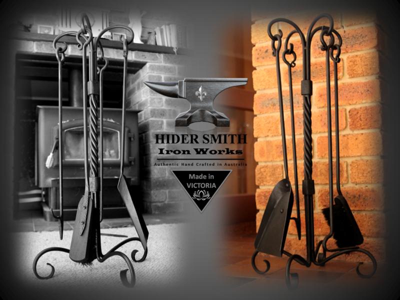 Sebire AUTHENTIC HAND MADE 5 Piece FIRETOOL SET Wrought Iron *Australian Made