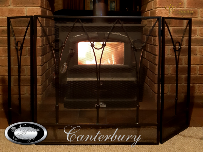 CANTERBURY Firescreen Wrought Iron Style Arch 3 panel adjustable fireplace guard/screen