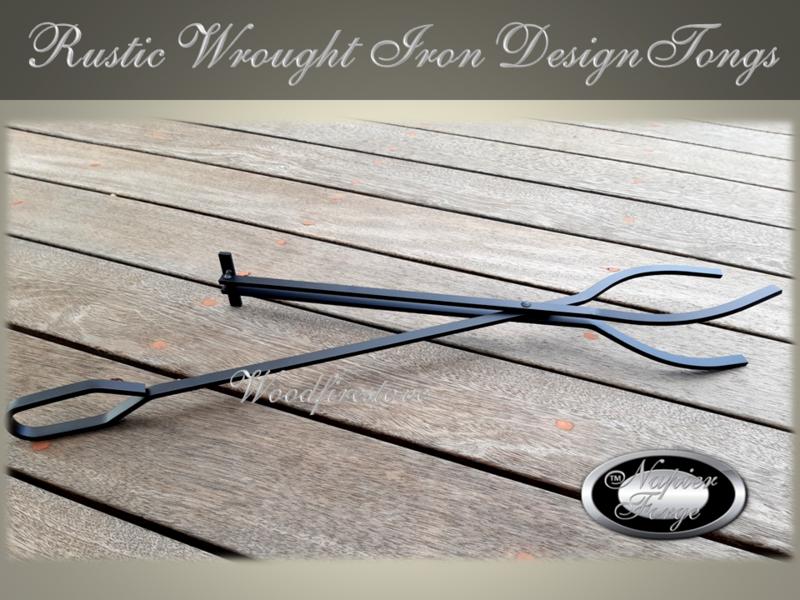 RUSTIC Fireplace LOG GRABBER / TONGS Wrought Iron Design