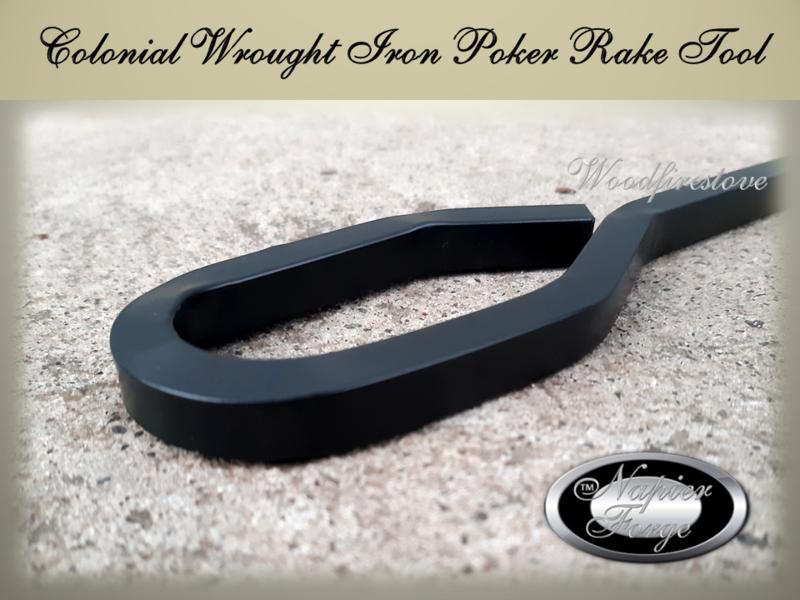 COLONIAL POKER - RAKE Wrought Iron 10mm Square Iron Premium L66cm Fireplace