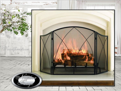 CHALEUR PROMINENT Firescreen Wrought Iron Style Spiral Arch 3 panel folding fireplace screen/guard *FREE SHIPPING