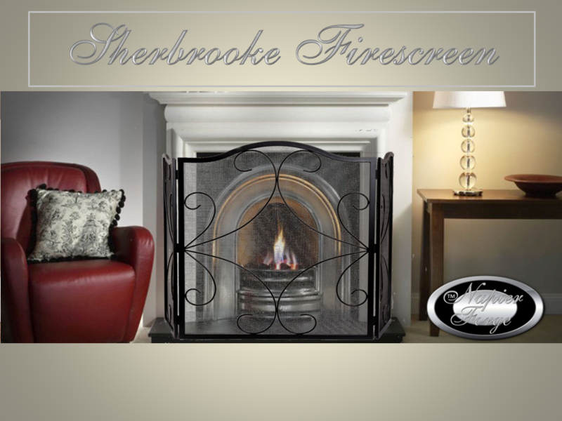 SHERBROOKE Firescreen Wrought Iron Style Arch 3 panel adjustable fireplace guard/screen