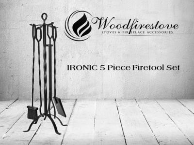 IRONIC  5 piece wrought iron design fireplace tool set (H81cm) * FREE SHIPPING