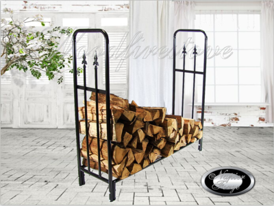PORTLAND Wrought Iron Style Indoor or Alfresco Pizza Oven Patio Log Rack with Diamond Finials / Wood Holder FIREWOOD STORAGE *FREE SHIPPING
