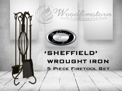 SHEFFIELD Wrought Iron Design 5 piece fireplace tool set (H73cm) * FREE SHIPPING