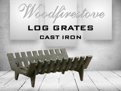 LOG GRATE - CAST IRON HEAVY DUTY with ASHPAN Kit - (Length 450mm)