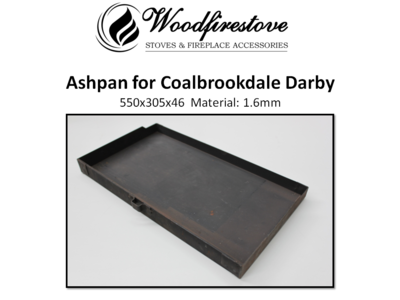 Fireplace ASH PAN for COALBROOKDALE DARBY 1.6mm steel (550 x 305 x 46m) - ASHPANS *Free Shipping Australia