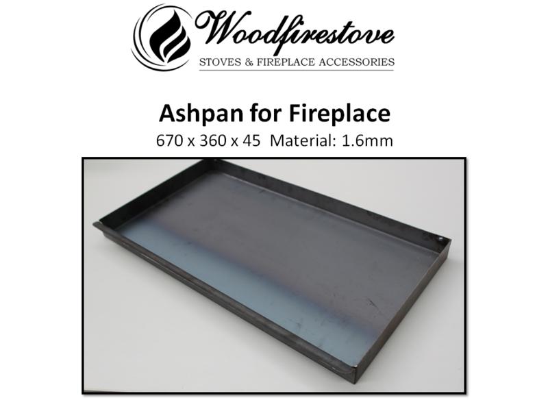 Fireplace ASH PAN 1.6mm steel  (670 x 360 x 45mm) - ASHPANS *Free Shipping Australia