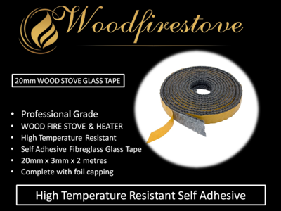 WOOD STOVE & HEATER Self Adhesive FLAT GLASS TAPE SEAL KIT (20mm) - 2 Metres *Free Shipping