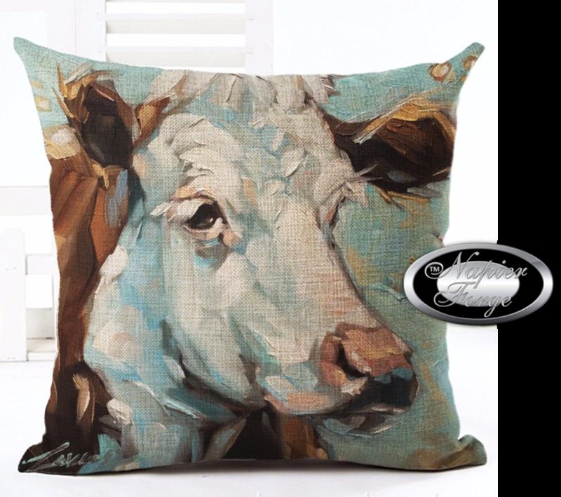 Farmhouse Cow Cotton Linen Cushion 45cm x 45cm - Design Portrait of Daisy *Free Shipping
