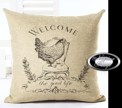 Farmhouse Cotton Linen Cushion 45cm x 45cm - Design Hen & Co *Free Shipping