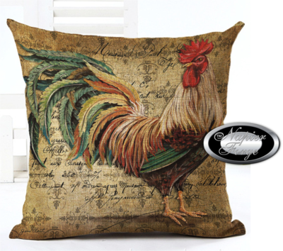 Farmhouse Cotton Linen Cushion 45cm x 45cm - Design Portrait of Rooster *Free Shipping