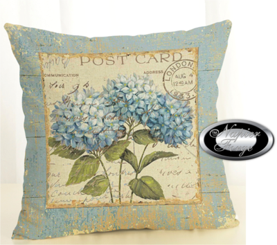 Farmhouse Cotton Linen Cushion 45cm x 45cm - Design Hydrangea Postcard *Free Shipping
