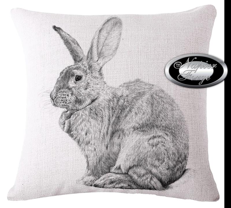 Farmhouse Cotton Linen Cushion 45cm x 45cm - Design Artists Rabbit *Free Shipping