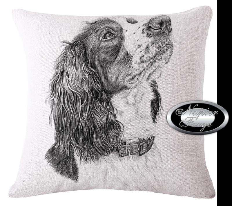 Farmhouse Cotton Linen Cushion 45cm x 45cm - Design Artists Spaniel *Free Shipping