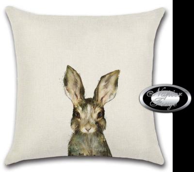 Farmhouse Cotton Linen Cushion 45cm x 45cm - Design Rabbit Glance *Free Shipping