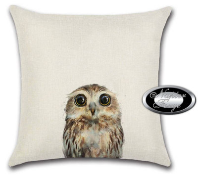 Farmhouse Cotton Linen Cushion 45cm x 45cm - Design Owl Glance *Free Shipping
