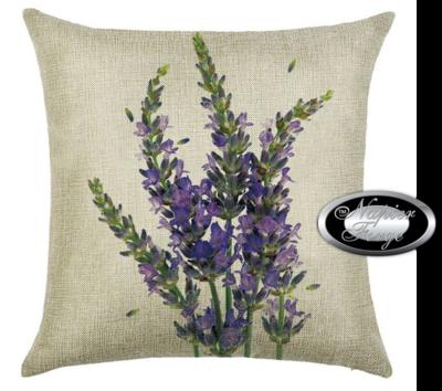 Farmhouse Cotton Linen Cushion 45cm x 45cm - Design Classic Lavender *Free Shipping
