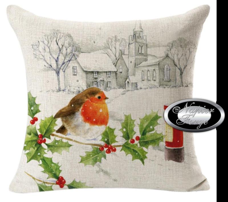 Farmhouse Cotton Linen Cushion 45cm x 45cm - Design Classic Winter Robin *Free Shipping