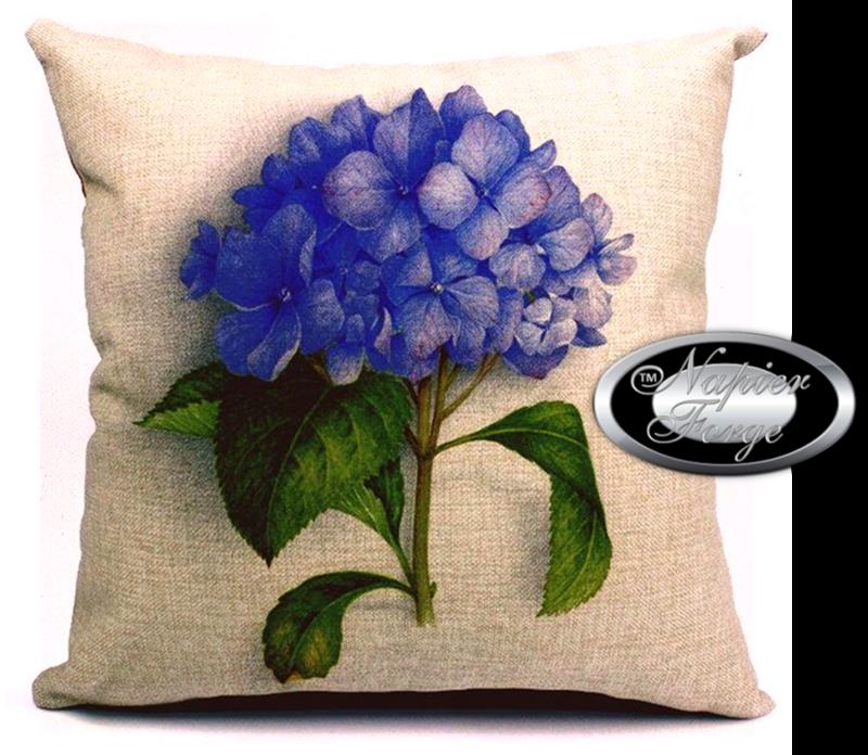 Farmhouse Cotton Linen Cushion 45cm x 45cm - Design Classic Hydrangea *Free Shipping