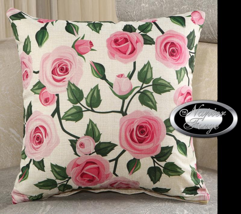 Farmhouse Cotton Linen Cushion 45cm x 45cm - Design Shades of Pink English Rose *Free Shipping