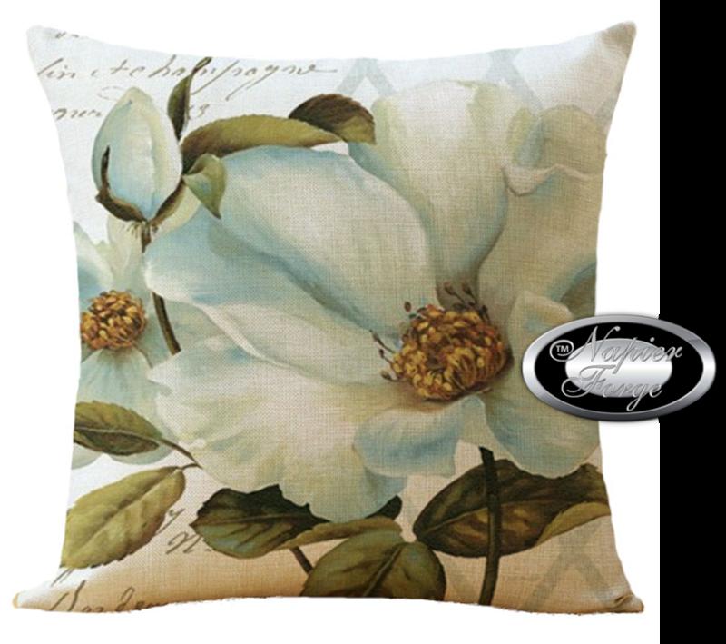 Farmhouse Cotton Linen Cushion 45cm x 45cm - Design Classic Blue Camelia *Free Shipping
