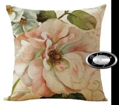 Farmhouse Cotton Linen Cushion 45cm x 45cm - Design Classic Camelia *Free Shipping