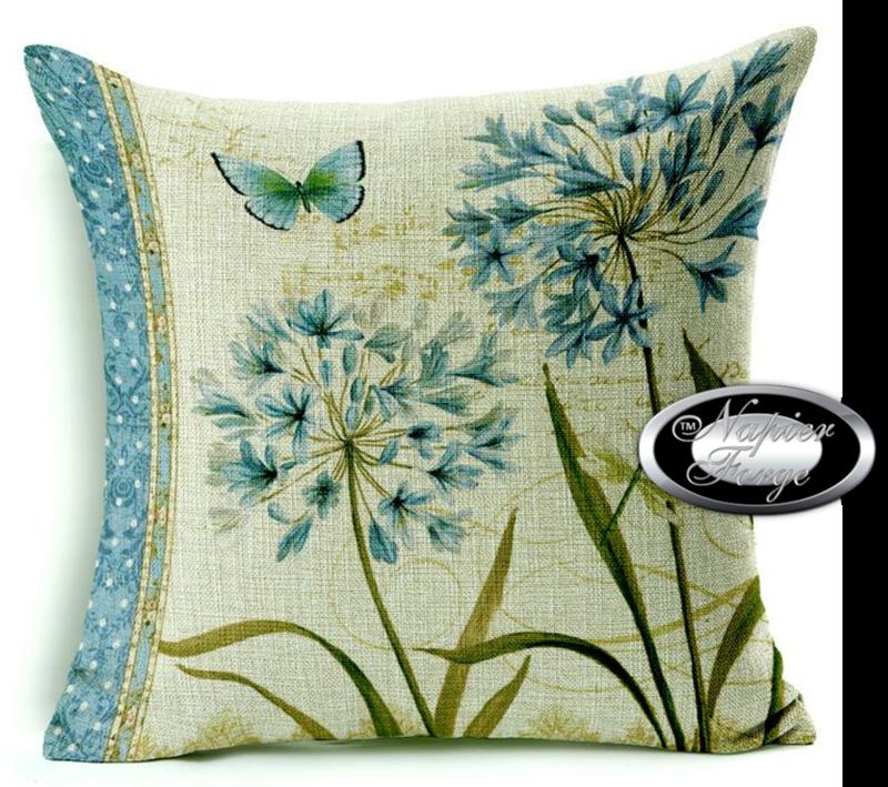 Farmhouse Cotton Linen Cushion 45cm x 45cm - Design Agapanthus (L) *Free Shipping