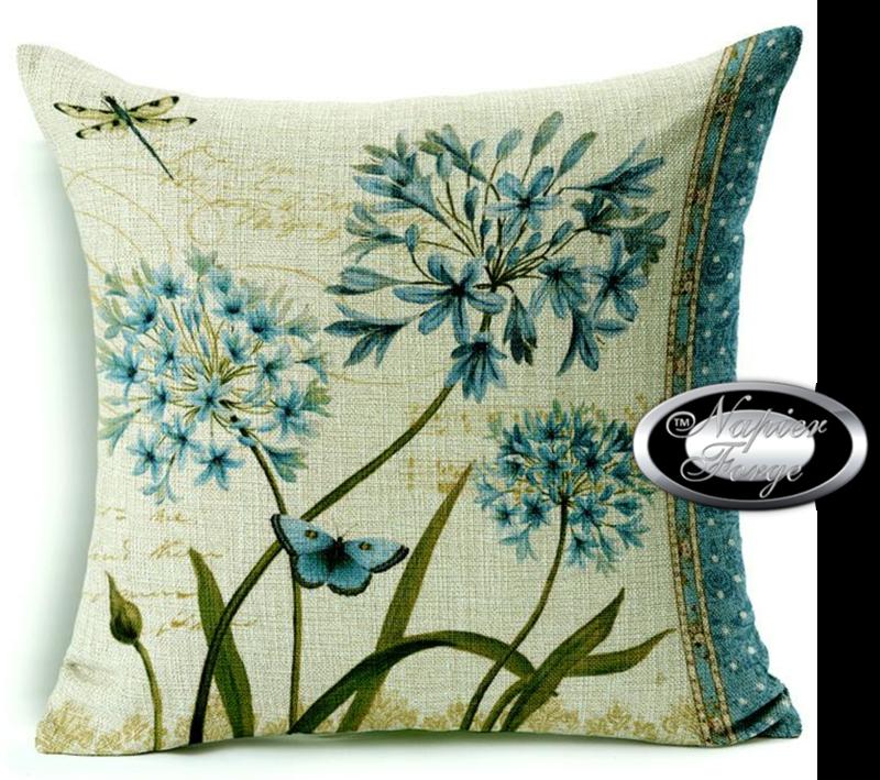 Farmhouse Cotton Linen Cushion 45cm x 45cm - Design Agapanthus (R) *Free Shipping