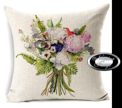Farmhouse Cotton Linen Cushion 45cm x 45cm - Design Cottage Bouquet *Free Shipping
