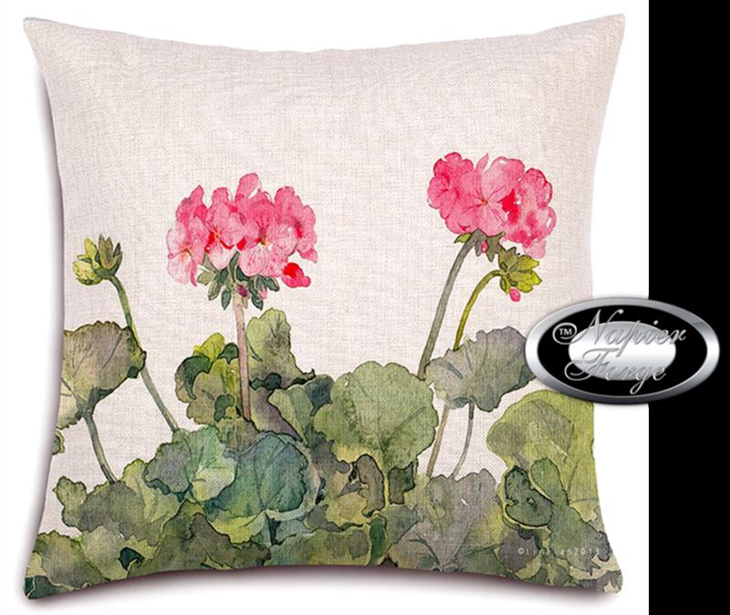 Farmhouse Cotton Linen Cushion 45cm x 45cm - Design Classic Geranium *Free Shipping