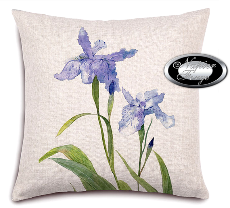 Farmhouse Cotton Linen Cushion 45cm x 45cm - Design Classic Blue Iris *Free Shipping