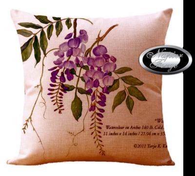 Farmhouse Cotton Linen Cushion 45cm x 45cm - Design Heritage Wisteria *Free Shipping